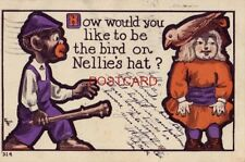 pre-1907 HOW WOULD YOU LIKE TO BE THE BIRD ON NELLIE'S HAT ? 1907 man with club