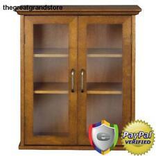 Glass Curio Cabinet Antiques Display Case Furniture Wood Shelves Storage Shelf