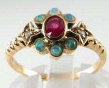 "LUSH 9CT 9K GOLD INDIAN RUBY & OPAL "" SUN MOON STAR "" ASTRAL ART DECO INS RING"
