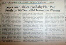 1945 newspaper w proposal for Artifical Insemination to produce PERFECT BABIES