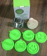 Cookie Cutter Wooden Handle Stampers 6 Detachable Silicone Deluxe Tween Media