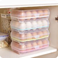 Plastic Refrigerator Eggs Storage Box 15 Eggs Holder Food Storage Container Case