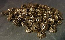 50 Tibetan Style Flower Bead Caps Vintage Antique Bronze 8mm, LF NF CF Bracelet