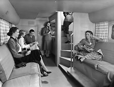 Lower deck lounge of a Pan American 377 Stratocruiser 1950 8 x 10 Photograph