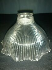 Vintage Holophane Glass Lamp Shade Globe Ribbed Industrial Small