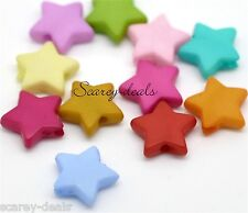 100 9mm Star Spacer Beads 4 Necklaces Bracelets Mixed Acrylic 1st Class Post