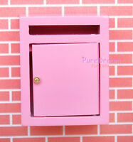 Pink Wooden Mailbox For Dollhouse Miniature Furniture OA021B-1 New arrived