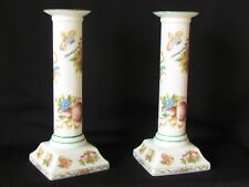 Andrea by Sadek Porcelain Candlesticks Holders (Pair) Fruit Floral Design 7""