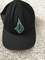 Volcom Embroidered Black Flex Fit Baseball Cap Hat Size S-M Neon Green Logo