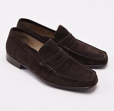 NIB $900 SUTOR MANTELLASSI Chocolate Brown Calf Suede Penny Loafers US 8 D Shoes