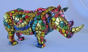 Vintage Barcino Mosaic Rhinoceros 15cm Long with Plaque to Base