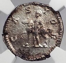 GETA 200AD Rome CASTOR with Horse of Gemini Twins Silver Roman Coin NGC i59903