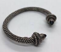 "Vintage Sterling Silver Bracelet 925 Cuff 6.5"" Flexible Cable Onyx Heavy 44 Gram"