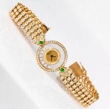 1980-90s Chopard Happy Diamond Emerald & Aprox 20Cts Diamond Bracelet Watch