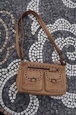 John Lewis Studded Brown Bag Handbag Leather