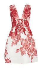 NEW $4995 Monique Lhuillier Dress US 12 Rose Print Silk Gazar Deep V-neck White