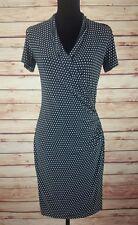 Norma Kamali Faux Wrap Stretch Dress Sz Small Black Polka Dots Career Office