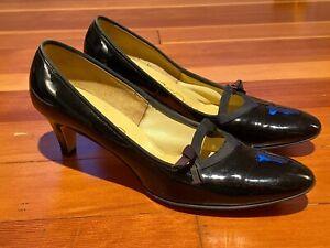 "Vintage Black Patent Leather ""Red Cross Shoes"" Pumps Heels Size 8"