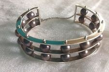 Patricia Madeja Pearl Cuff Bracelet Silver .925 Double Spinning Row STUNNING!