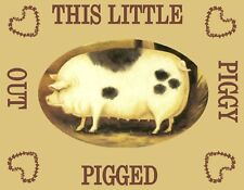 METAL MAGNET This Little Piggy Pigged Out Pig Hog Pigs Hogs Humor MAGNET