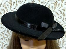 "**SALE** BLACK Velvet Brimmed DOLL HAT w/Ribbon Trim fits 18"" AMERICAN GIRL DOLL"