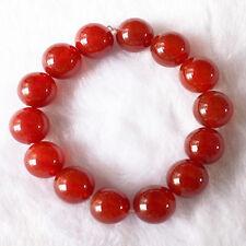 "Large 14 14mm Red Agate Gemstone Yoga Meditation Prayer Beads Mala Bracelet -6"""