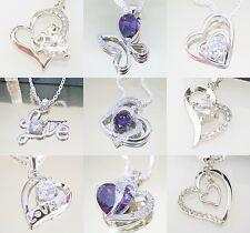 LOVE Herz Anhänger Silber plattiert Halskette Kleeblatt Glück Schmetterling