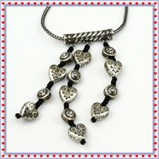 Brighton Mademoiselle Black Bead Heart Silver Necklace