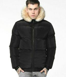 SIKSILK Mens Distance Fur Jacket - BLACK - Size - XL *RRP £𝟷̶𝟶̶𝟶̶ **NEW