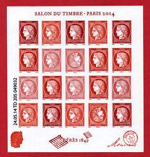 Bloc feuillet Type Cérès - 1949, Salon du Timbre 2014 - bloc avec 2 têtes bêches