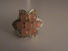 Orange Moonstone & Lab Created Orange Sapphire Ring in Sterling Silver Size 6.5