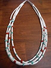 Native American Heishe Necklace, White Clam Shell Turquoise Apple Coral 4 Strand