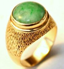 Vintage 14K Solid Gold and Untreated Grade A Jade Ring Size 8 1/3