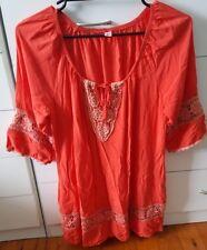 BOHO AUSTRALIA Mini Dress Long Top Beach Hippie Size M Coral Pink Crochet