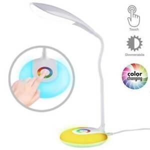Lampada da Scrivania Tavolo LED Touch con Base Luce Notturna Cambio Colore RGB
