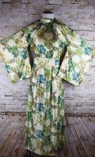Waltah Clarke's Full Length Polynesian Ivory Green Kimono Dress Sz 10 Vtg 1960's