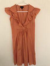 💖 WITCHERY ORANGE SILKY SHEEN VISCOSE COTTON RUFFLE ALINE DRESS 8 Xs