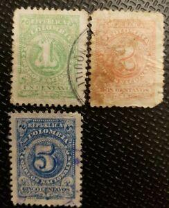 Schöne uralte Klassik Briefmarke weltweit aus Kolumbien