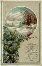 Antique Advertising Trade Card Household Sewing Machine Co. Providence R.I.