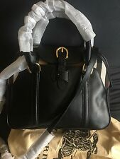 Burberry Medium Leather and House Check Bowling Bag Black