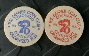 (2) DENVER COLORADO THE DENVER COIN CLUB ORG 1935 ANNUAL DINNER WOODEN NICKEL