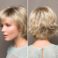 Short White Blonde Gold Synthetic Pixie Wig For Women Short Curly Hair Cosplay