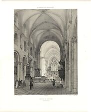 Stampa antica EGLISE DE GOURNAY Francia 1852 Ancien Gravure Old Print