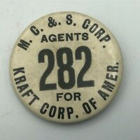 "Vintage MC & S Agent For Kraft Corp 2-1/4"" Employee ID Badge Pin Button Rare  R8"