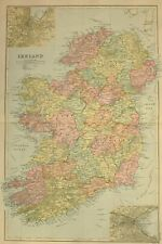 1896 MAP IRELAND CONNAUGHT LEINSTER ULSTER DUBLIN CORK BELFAST WATERFORD CLARE