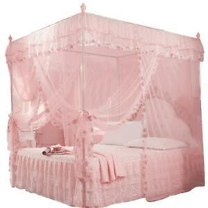 Luxury Princess 3 Side Openings Post Bed Curtain Canopy Netting Mosquito NEW