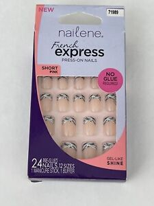 NAILENE FRENCH EXPRESS PRESS ON NAILS NO GLUE REQUIRED SHORT PINK DESIGN 71989