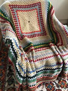 Vintage Handmade Multi Coloured Afghan Blanket Throw Crochet  Squares Blanket