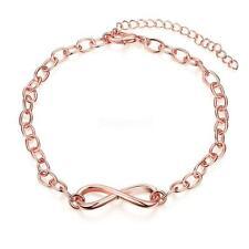 Charm Women's Infinity Love Symbol Stainless Steel Rose Gold Chain Bracelet Gift