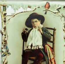 1870's-80's Lovely Winter Die Cut Boy Pipe Snow Bird Christmas Victorian Card *X